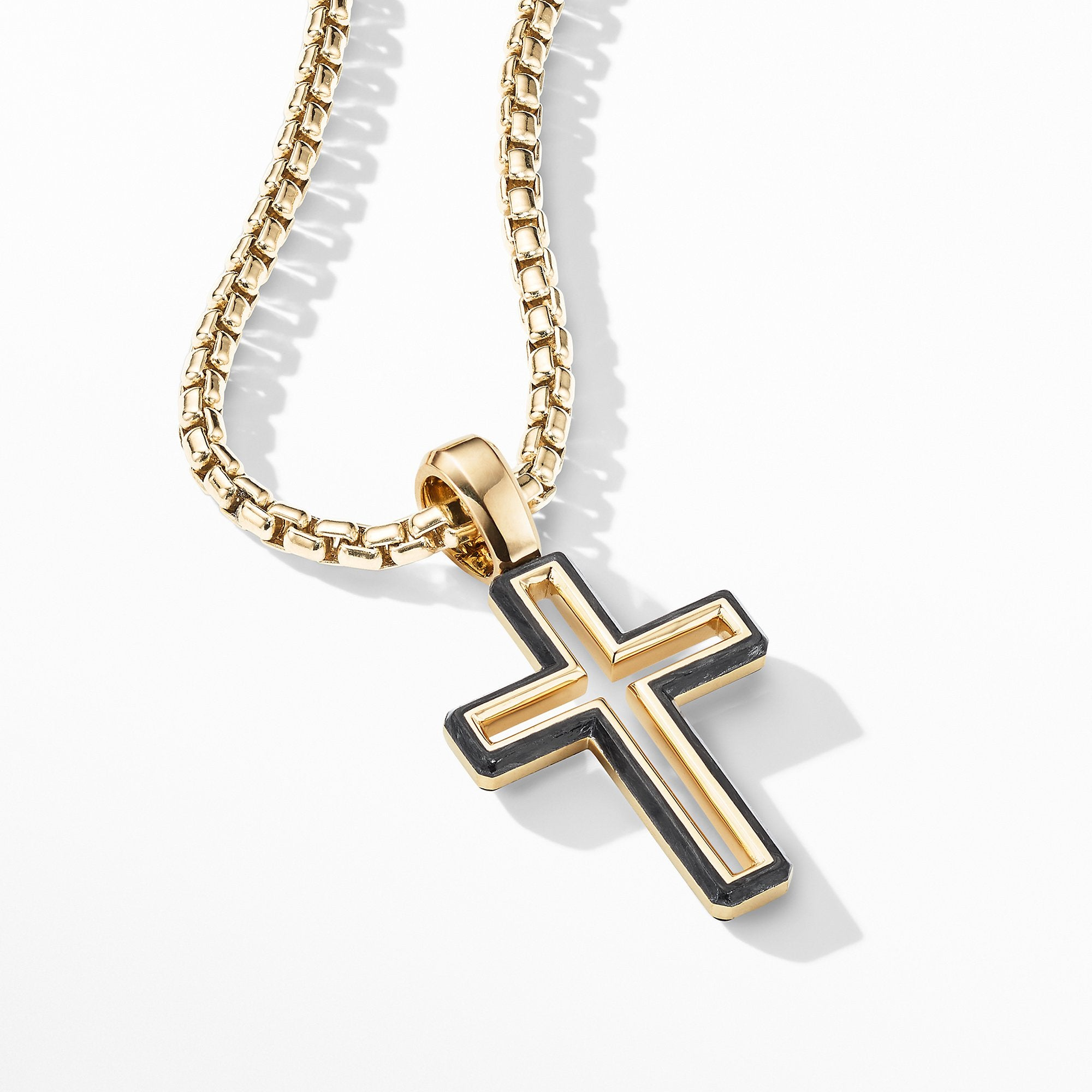 Forged Carbon Cross Pendant with 18K Gold