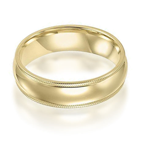 14K Yellow Gold 6mm Low Dome Band with Milgrain