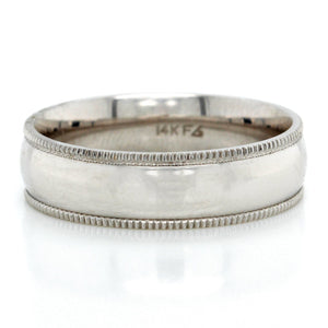 14K White Gold Carbon Fiber Milgrain Wedding Ring