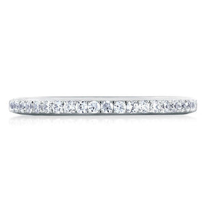 Platinum Single Row Pave Diamond Wedding Ring
