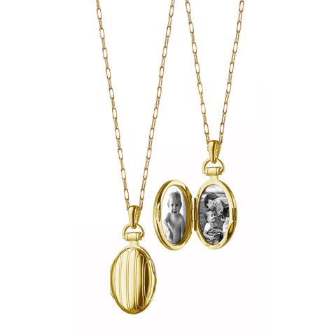 18K Yellow Gold Petite Pinstripe Locket