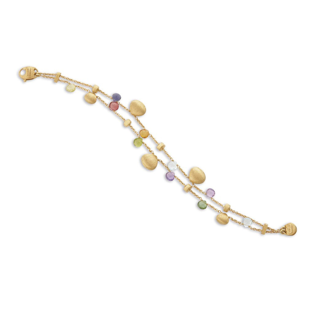 Paradise 18K Yellow Gold with Mixed Stone & Gold Teardrop Two Strand Bracelet