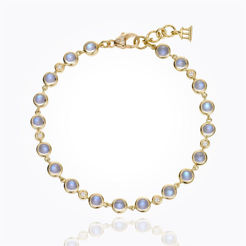 18K Yellow Gold Small Single Round Bracelet with Royal Blue Moonstone and Diamond