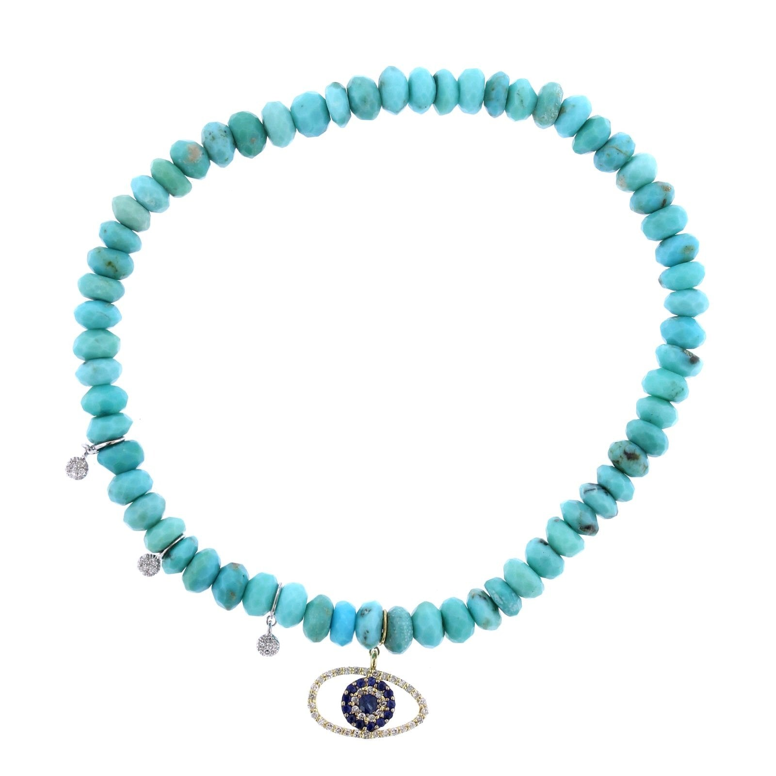 14K Yellow Gold Turquoise Bead Evil Eye Bracelet