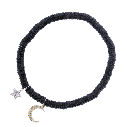 14K Yellow and White Gold Hematite Star and Moon Diamond Bracelet