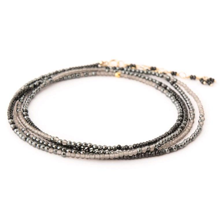 18K Yellow Gold Black Spinel, Hematite and Slate Moonstone Ombre Wrap Bracelet