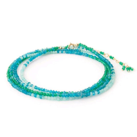 18K Yellow Gold Green Onyx, Apatite and Amazonite Ombre Wrap Bracelet
