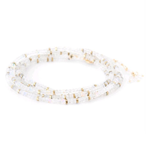18K Yellow Gold Moonstone Confetti Wrap Bracelet