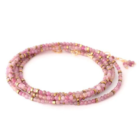 18K Yellow Gold Milti-Pink Ruby Wrap Bracelet
