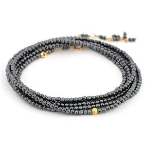 18K Yellow Gold Hematite Wrap Bracelet