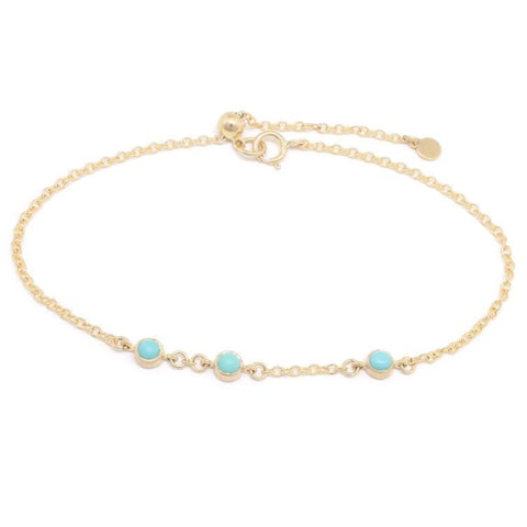 18K Yellow Gold Turquoise Cabochon Triple Station Chain Bracelet
