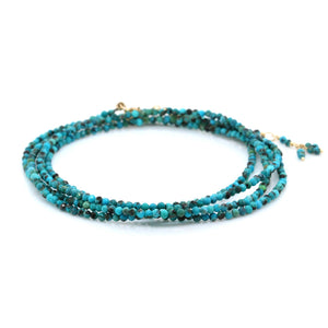 18K Yellow Gold Turquoise Wrap Bracelet