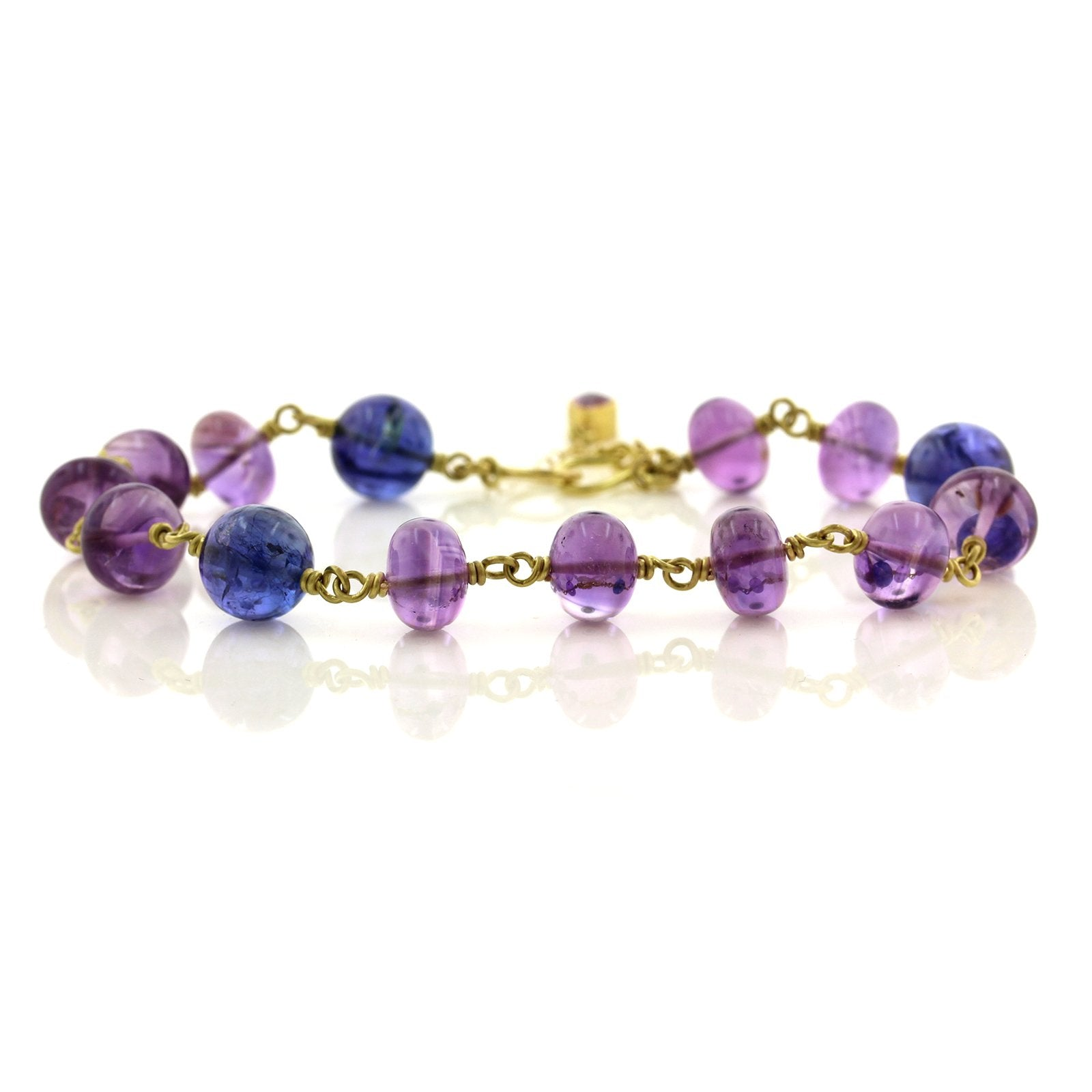 18/22K Yellow Gold Amethyst and Tanzanite Bracelet