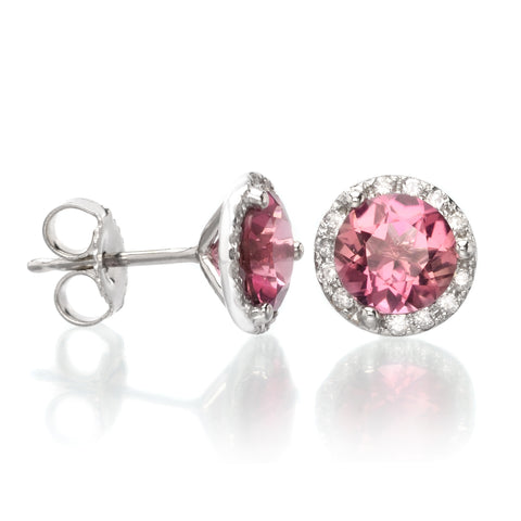 14K White Gold Diamond Halo Pink Tourmaline Studs