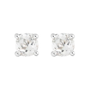 14K White Gold Round White Topaz Stud Earrings
