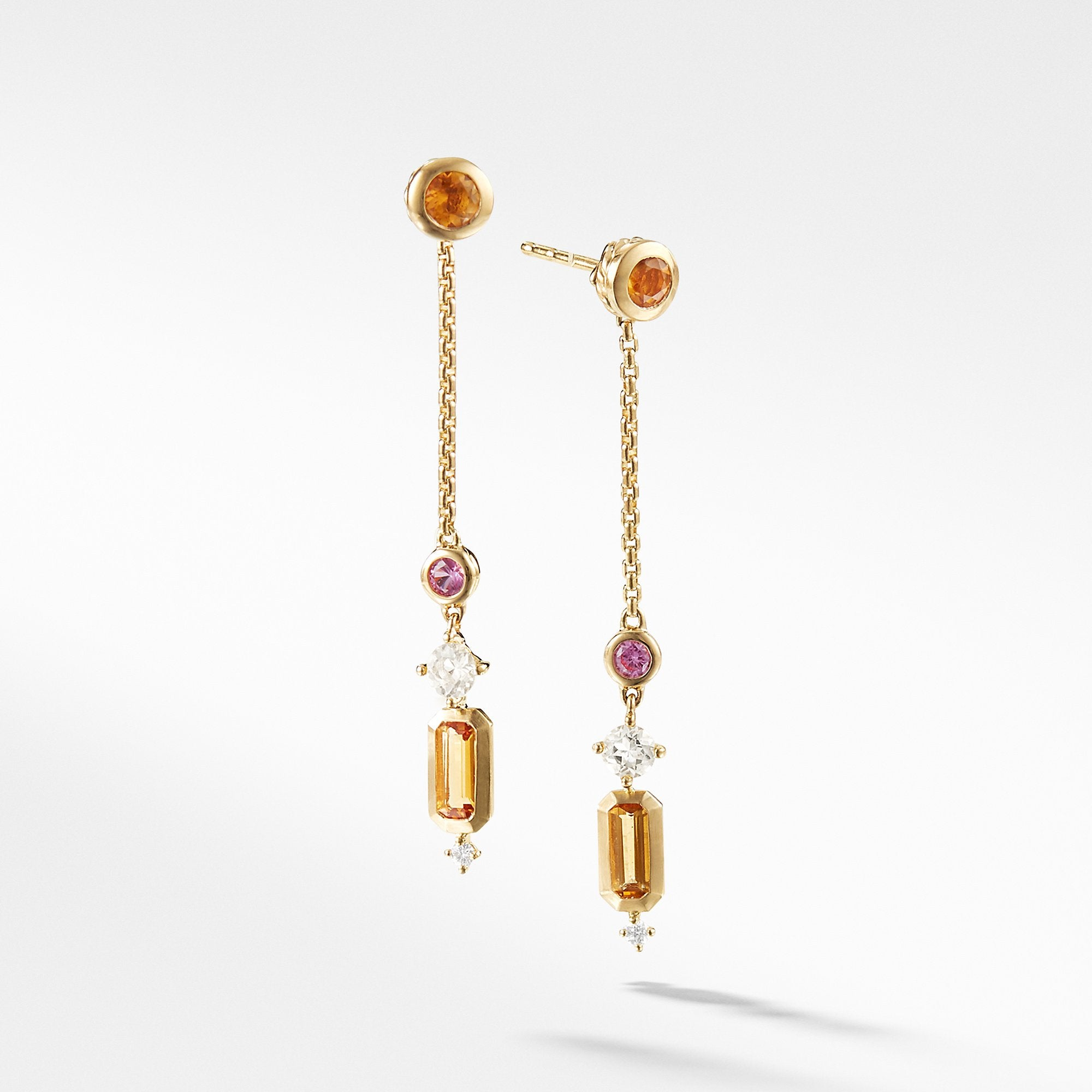 Novella Drop Earrings in Citrine and Yellow Beryl with Diamonds