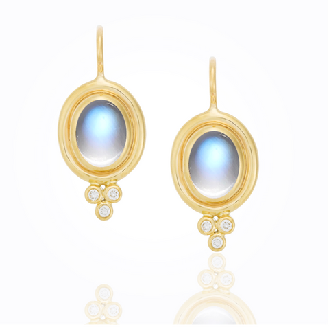18K Yellow Gold Classic Amulet Earrings with Rock Crystal and Diamond Granulation
