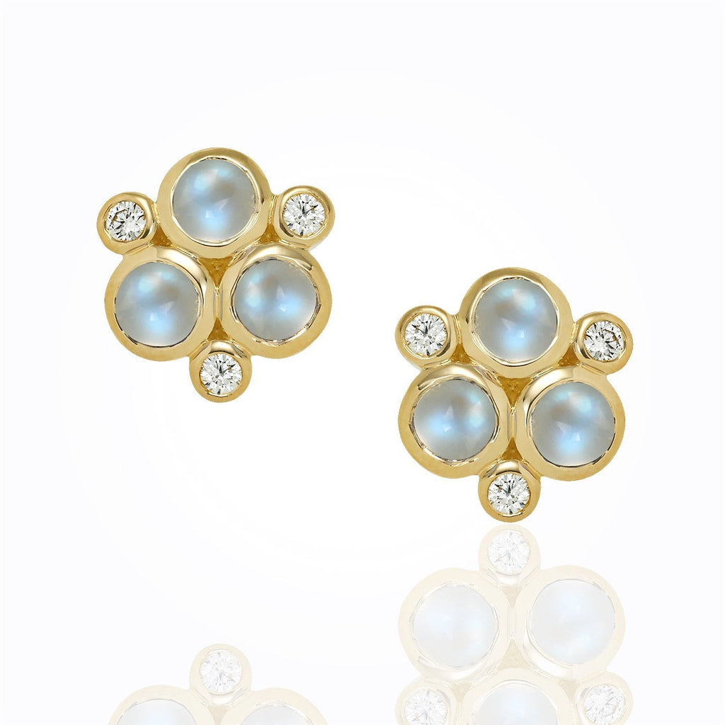 18K Yellow Gold Moonstone Classic Trio Earrings