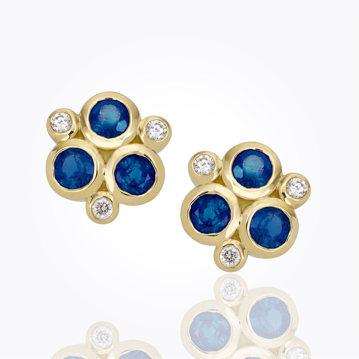 18K Yellow Gold Sapphire Classic Trio Earrings