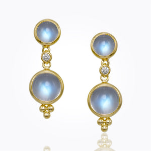 18K Yellow Gold Double Drop Earrings with Diamond