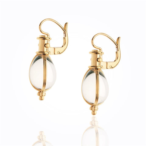18K Yellow Gold Classic Amulet Earrings with Rock Crystal