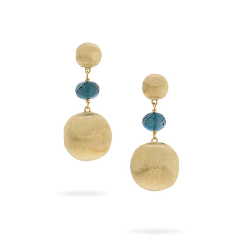 Africa 18K Yellow Gold Dangle Earrings