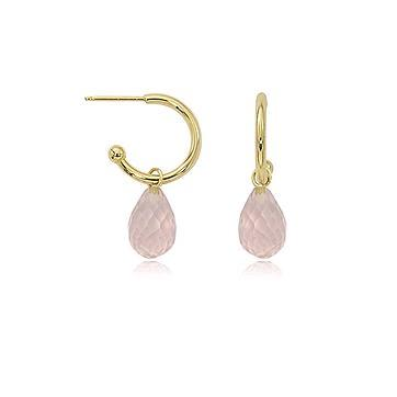 14K Yellow Gold Rose Quartz Earrings
