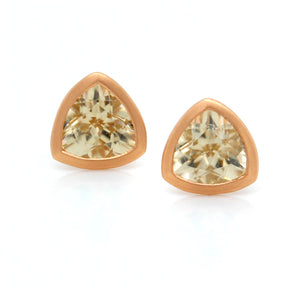 18K Rose Gold Trillion Zircon Bezel Set Stud Earrings