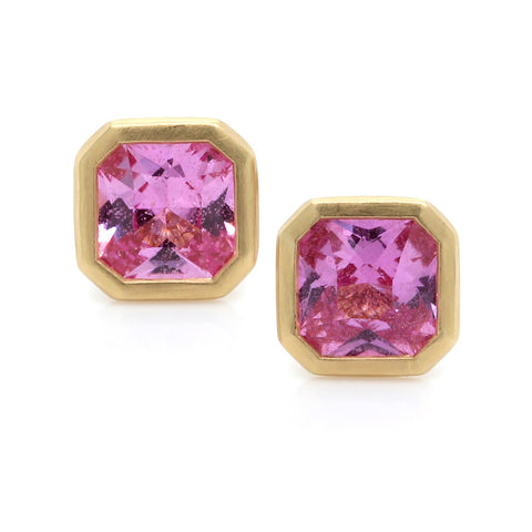 18K Yellow Gold Square Bezel Set Pink Sapphire Earrings