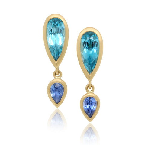 18K Yellow Gold Bezel Set Zircon Sapphire Drop Earrings