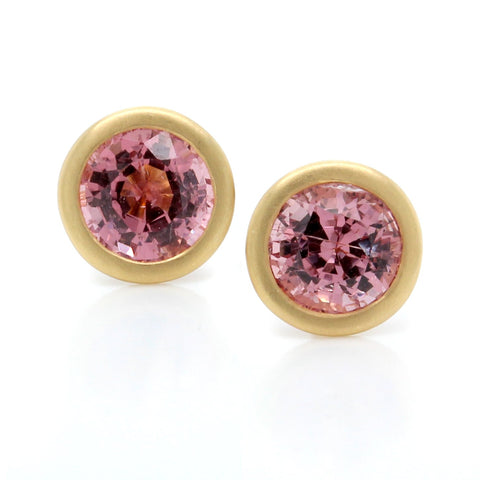 18K Yellow Gold Bezel Set Peach Spinel Earrings