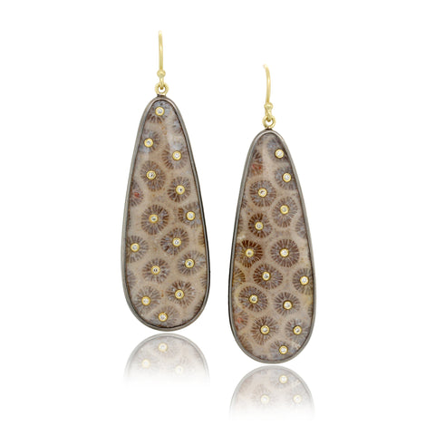 18K Yellow Gold Fossil Coral and Diamond Earrings