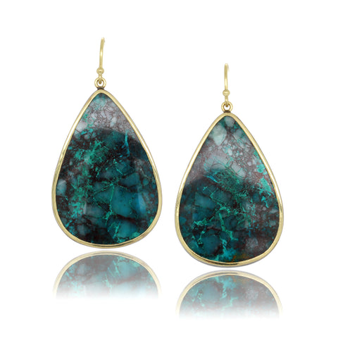18K Yellow Gold Mexican Chrysocolla Earrings