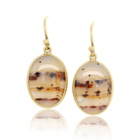 18K Yellow Gold Montana Agate Oval Earrings