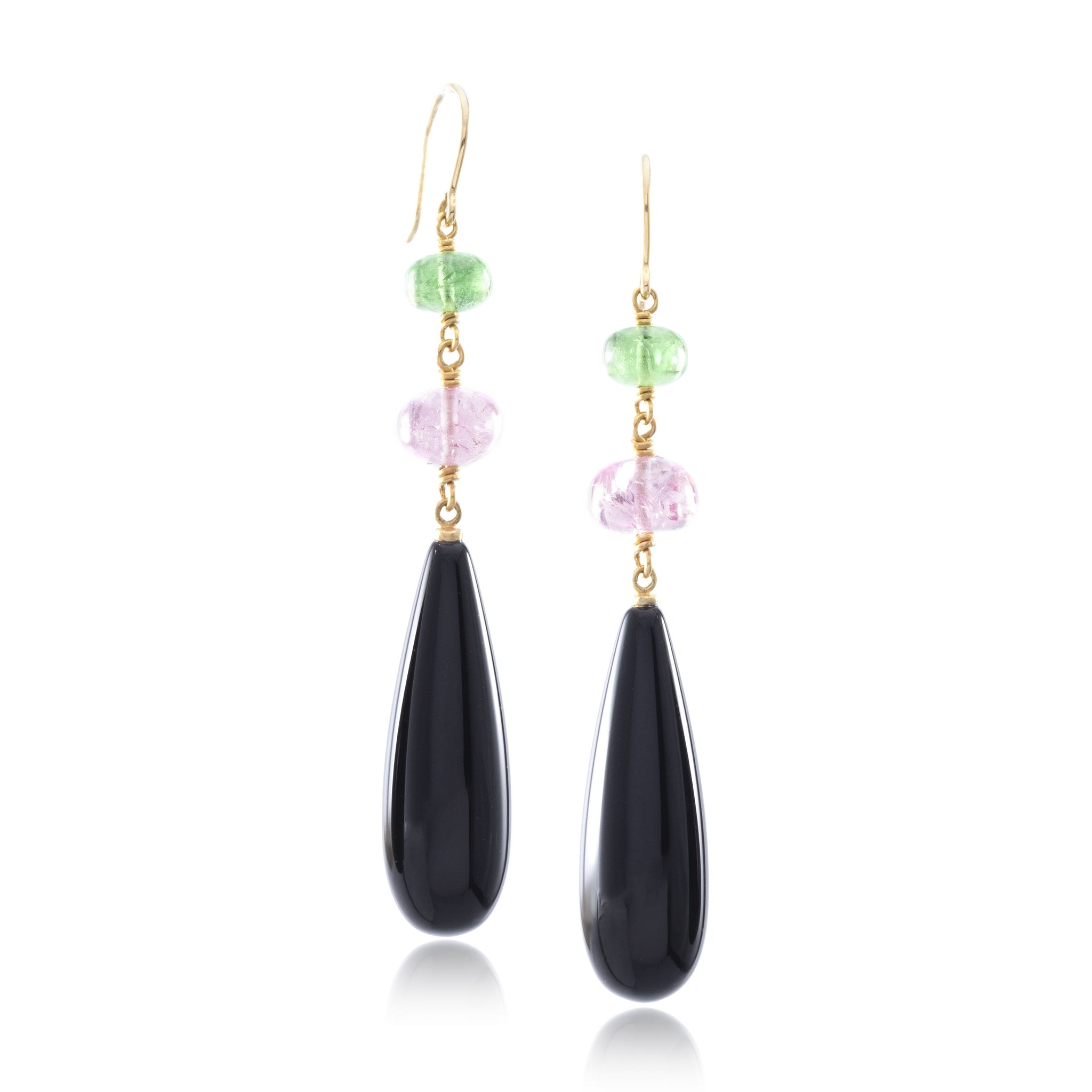 22K and 18K Two-tone Gold Black Onyx Drop Earrings with Cabochon Tsavorite and Cabochon Pink Tourmaline Beads