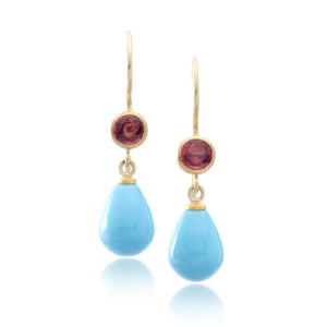 22K and 18K Yellow Gold Red Sapphire and Turquoise Drop Earrings
