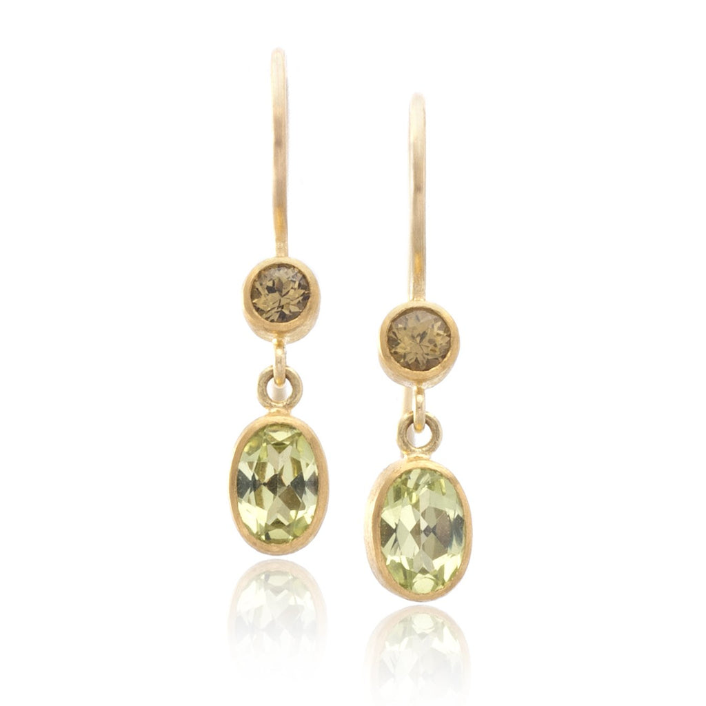 18K Yellow Gold Garnet and Chrysoberyl Drop Earrings