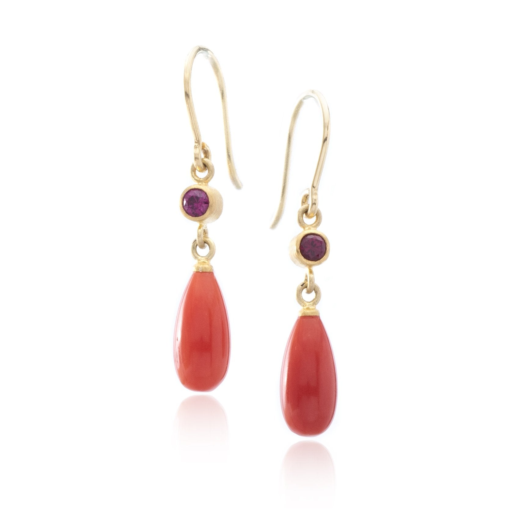 22K and 18K Yellow Gold Coral and Ruby Drop Earrings