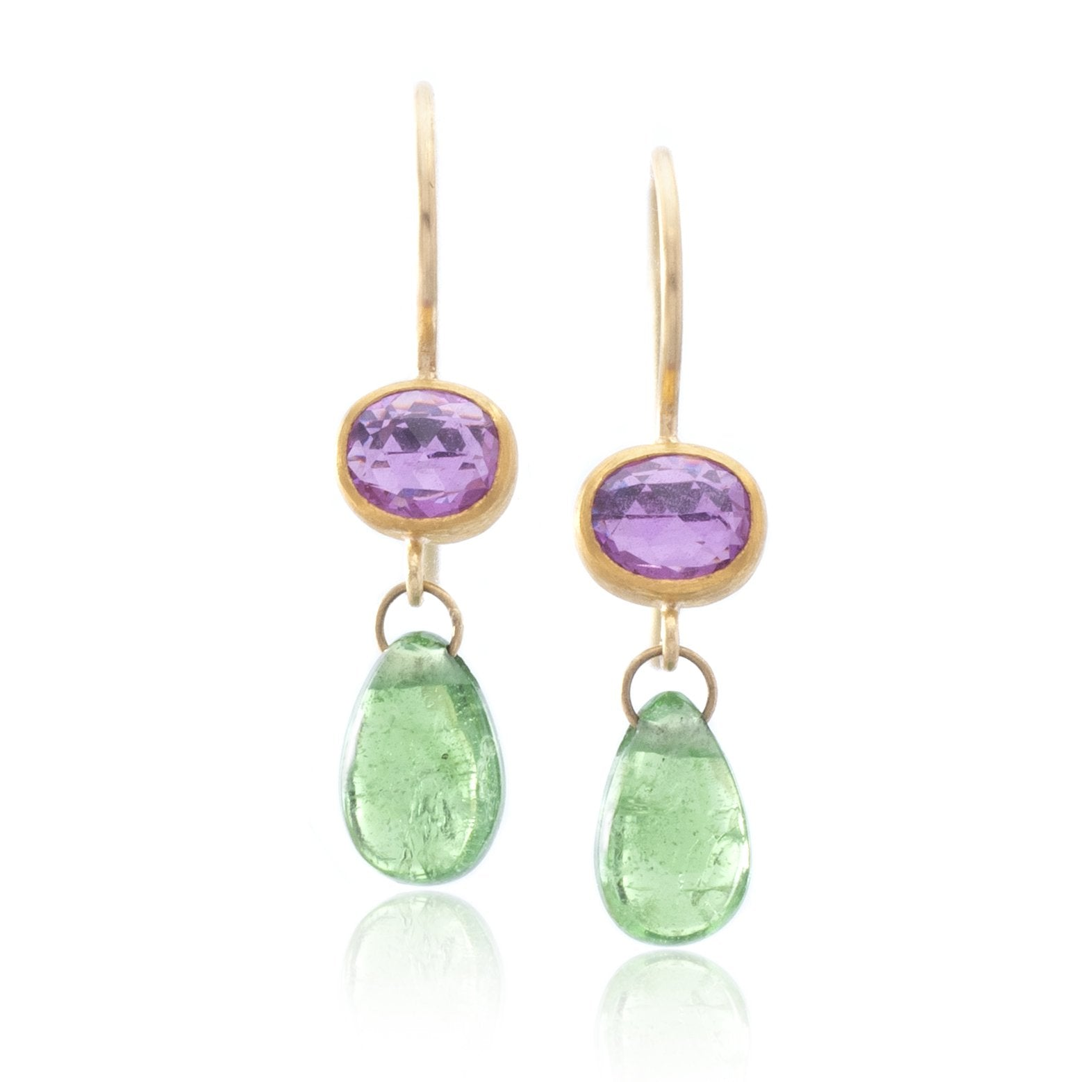 22K and 18K Yellow Gold Pink Sapphire and Tsavorite Drop Earrings