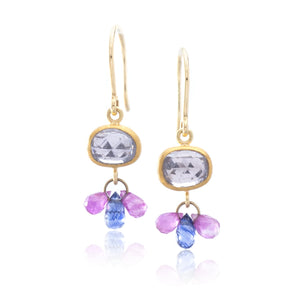 18K Yellow Gold Rose Cut Sapphire and Briolette Earrings