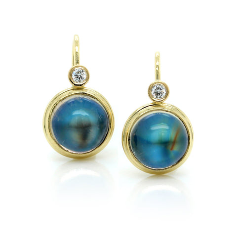 18K Yellow Gold Moonstone Earrings