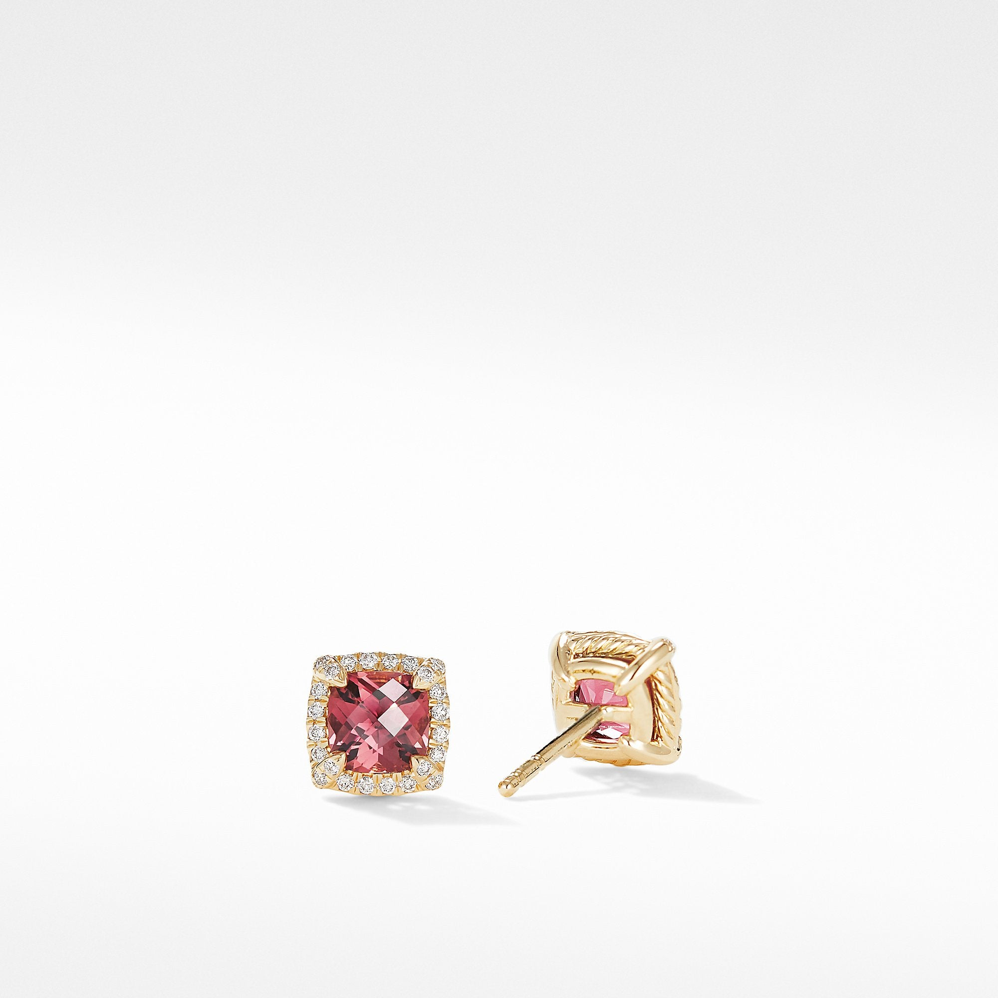 Petite Chatelaine® Pavé Bezel Stud Earrings in 18K Yellow Gold with Pink Tourmaline