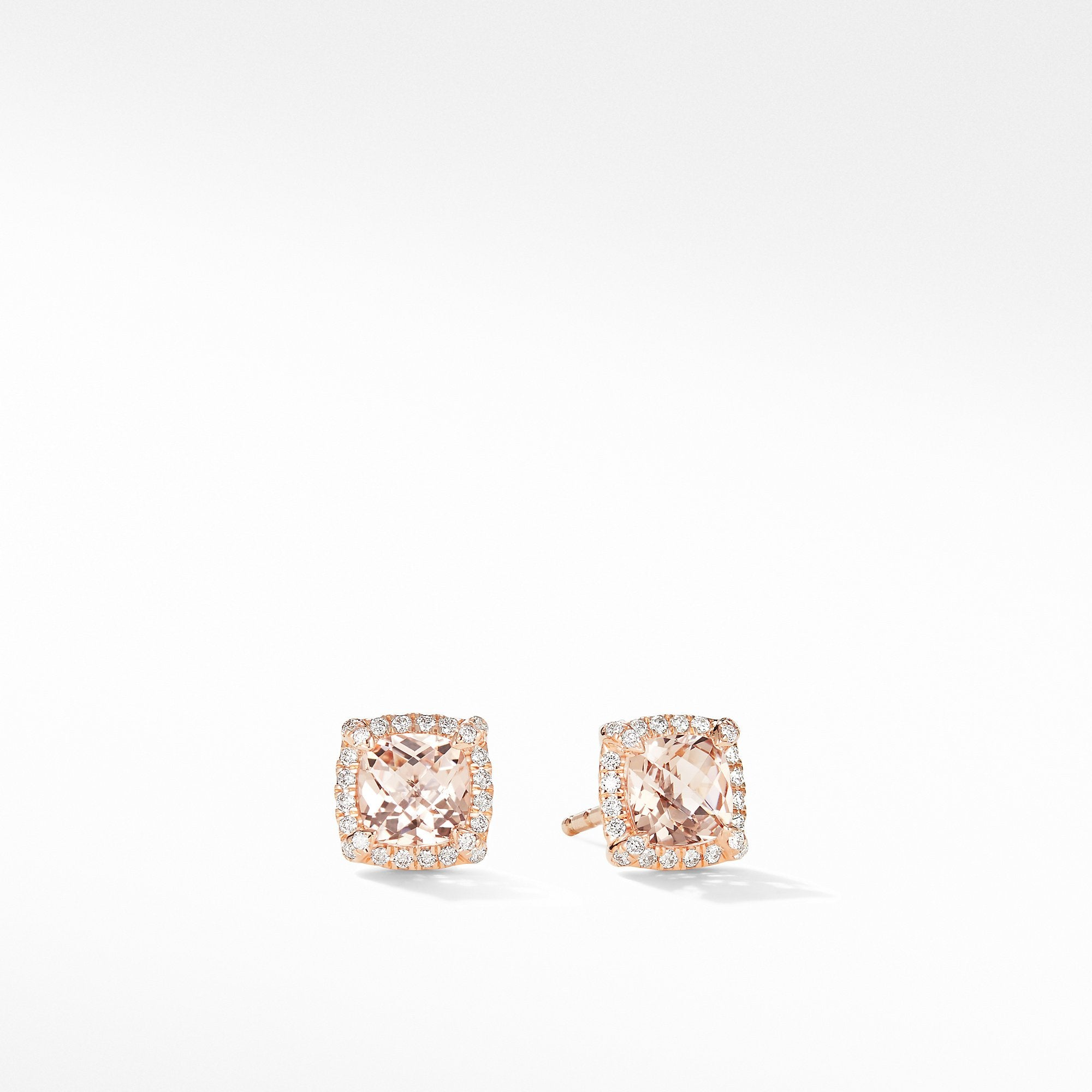 Petite Chatelaine® Pavé Bezel Stud Earrings in 18K Rose Gold with Morganite