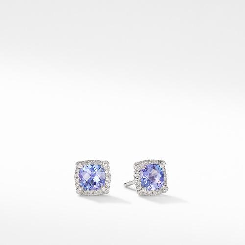 Petite Chatelaine® Pavé Bezel Stud Earrings in 18K White Gold with Tanzanite