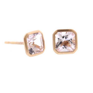 18K Rose Gold Morganite Studs