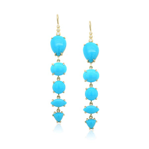 18K Yellow Gold Turquoise Drop Earrings