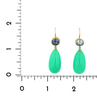 18K Yellow Gold Chrysoprase and Tourmaline Drop Earrings