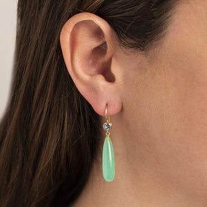 18K Yellow Gold Chrysoprase and Sapphire Drop Earrings