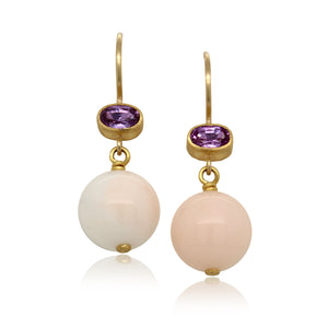 18K Yellow Gold Coral and Pink Sapphire Drop Earrings