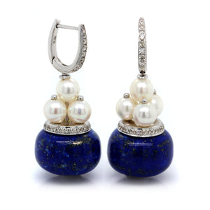 18K White Gold Lapis, Pearl and Diamond Drop Earrings